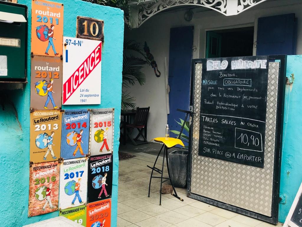 Menu du Belo Horizonte Restaurant sur saint pierre - tartes salées au choix à 10.90 euros sur place ou à emporter.